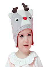 Grey Cute Warm Winter Accessories Knitted Baby Beanie Hat With Reindeer Antlers