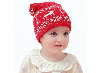 Red Color Warm Winter Accessories Cute Crochet Beanie Hat 0.08KG Weight
