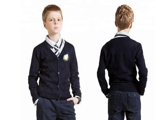Navy Blue V Neck School Uniform Sweaters Cardigan Simple Pattern For Boys