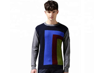 Spring Mens Cotton Pullover 12 Gauge Crew Neck Intarsia Patterns Colourful Jumper