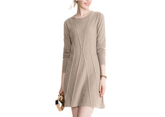 China Round Neck 100% Cashmere Sweater Women Cable Knit Long Dress In Autumn supplier