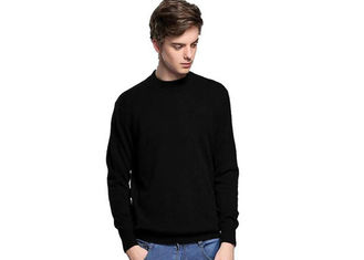 China Fancy Winter Cashmere Sweater Men , Black Cashmere Sweater Tight 12 Gauge supplier