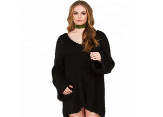 Long Sleeve Plus Size Clothing Sweater Dress V Neck Collar OEM / ODM Service