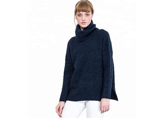 Oversized High Neck Black Pullover Sweater Women's Regular Dry Cleaning