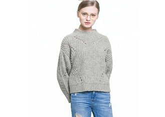 Hollow Design Loose Knitted Round Neck Pullover Sweater For Women