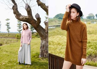 China Tailored Jacquard Pattern O Neck Cashmere Sweater Womens Anti - Pilling Breathable supplier