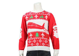 Red Knitted Round Neck Office Ugly Christmas Sweater Long Sleeve Jacquard Pattern