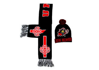 China Black Jacquard Pattern Winter Accessories Beanie Hat With Scarf Set / Knit Pom supplier
