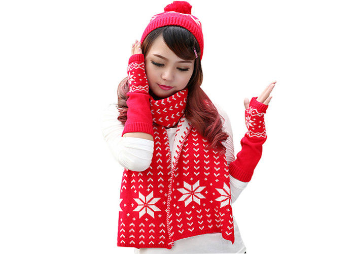 Red Black Yellow Warm Winter Accessories Knitted Hat Scarf Glove Set