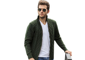 China Jacquard Thick Long Cable Knitted Full Zip Army Green Cardigan Sweaters For Mens supplier
