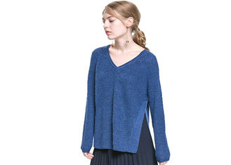 China Lazy V Neck Cable Knit Jumper Womens Plus Size Cotton Or Acrylic Materials supplier