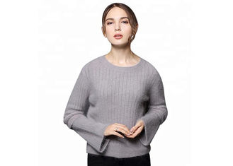 China Splice Sleeves Cozy Knit Sweater Angora Rabbit Wool Materials Soft Warm For Ladies supplier