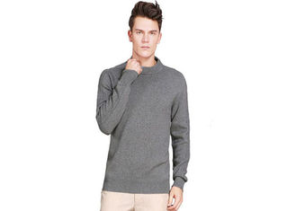 China Thick Soft O Neck Mens Pure Cashmere Jumpers Long Sleeve Knitting 7 Gauge supplier