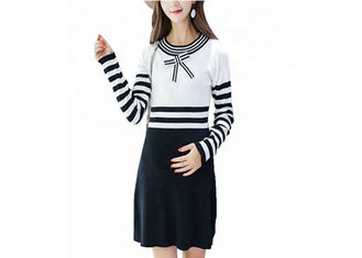 China Office Wear Maternity Cable Knit Sweater With Bow Dresses Eco Friendly supplier
