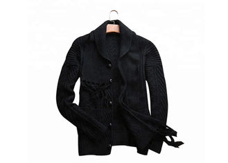 China Black Acrylic Button Mens Knit Sweater ,Winter Cardigan Sweater With Knitted Scarf supplier