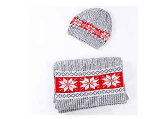 Holiday Warm Winter Accessories Leaf Cute Beanie Hat / Scarf And Gloves Kit