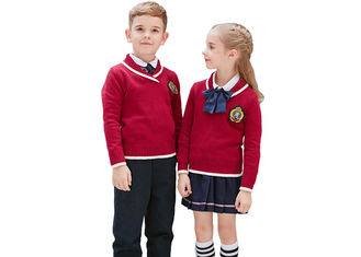China Knitted Primary School Uniform Pullover Sweaters Designs For Boys And Girls supplier