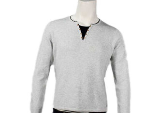 China Long Sleeve Mens Cotton Sweaters Stylish V Neck Button Full Needle Knitted Pullover supplier