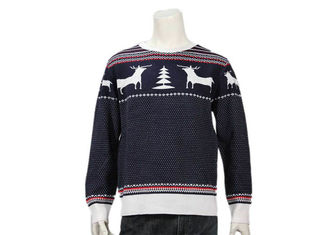 China Men ' S 100% Cotton Reindeer Pine Christmas Pullover Jumper In Vavy And White supplier