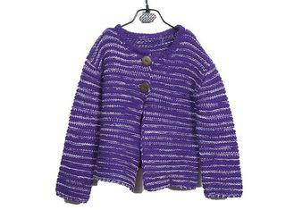China Winter Thick Purple 7 Gauge Warm Young Girl Cardigan Buttons Knitwear Europe Style supplier