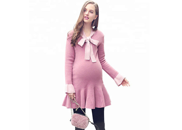 8fd5e45709f8c Korean Style Womens Maternity Clothes , Pregnancy Sweaters Ruffles  Decoration